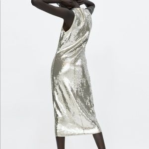 028b6c94 Zara Dresses | Nwt Midi Silver Sequin Dress Tulle Lining 75 | Poshmark